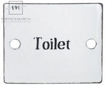 """Vintage Fehér Zománc """"Toilet"""" Tábla"""