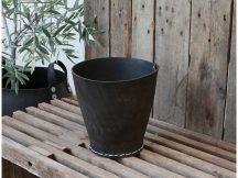 Vintage Kézzel Készített Fekete Gumi Kaspó - 25 cm.