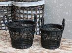 Vintage Fekete 2 Darabos Kosár Szett