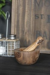 Vintage Kézzel Készített Ollajfa Fűszer Mozsár