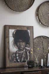 "Vintage UNIKA ""from Rajasthan"" Indiai Lány Fali Kép - 60 cm."