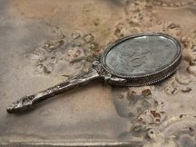 Régi Francia Antik Ezüst Színű Kézi Tükör - 22 cm.