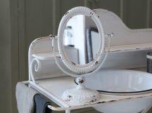 Antik Fehér Dönthető Tükör - 35 cm.