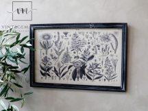 """Antik Fekete """"Black Floral"""" Fali Kép - 60 cm."""