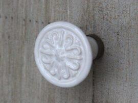 Vintage Fehér Virág Fiókgomb - 3 cm.