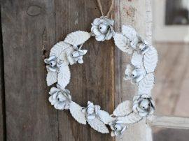 Antik Fehér Rózsa/Levelek Koszorú Ajtódísz