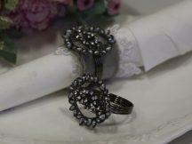 """Antik Ezüst """"Gyöngy & Kristály"""" Szalvétagyűrű"""