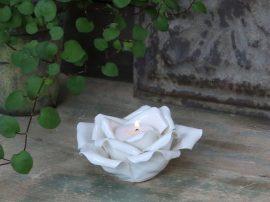 Antik Fehér Porcelán Rózsa Mécsestartó