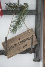 """Vintage Fa """"Happy Christmas Everyone"""" Tábla - 15 cm."""