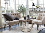 Francia Sofa Tölgyfa Lábakkal, 100% Vászon Bevonattal