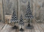 Antik Szürke Francia Fém Karácsonyfa - 70 cm.