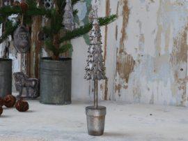 """Antik Fém """"Csillám"""" Karácsonyfa - 33 cm."""