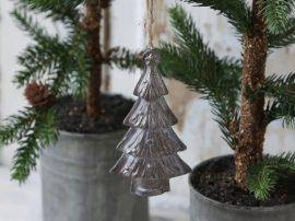 """Antik Ezüst """"Karácsonyfa"""" Akasztható Dísz - 12 cm."""