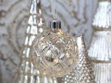 Vintage Barázdált LED-es Világító Akasztható Gömb - 10 cm.