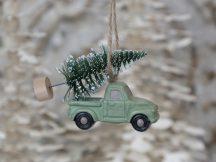 Antik Zöld Akasztható Dísz - Fenyőfát Szállító Autó