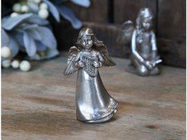 Antik Ezüst Angyal Hárfával - 11 cm.