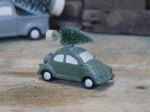 Vintage Zöld Glitter Karácsonyfát Szállító Autó - 10,5 cm.