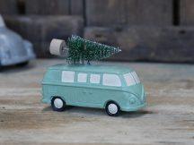 Vintage Zöld Karácsonyfát Szállító Kisbusz - 10 cm.