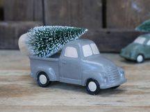 Vintage Szürke Karácsonyfát Szállító Autó - 14,5 cm.