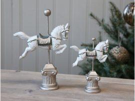 Antik Fehér Karácsonyi Ló - 15,5 cm.
