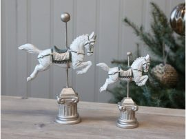 Antik Fehér Karácsonyi Ló - 23 cm.
