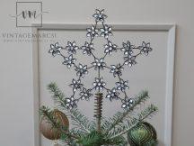Antik Réz Karácsonyfa Csúcsdísz Strasszkövekkel - 27 cm.