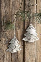 Antik Cink Karácsonyfa Akasztható Dísz - 13 cm.