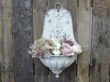 Régi Francia Falra Szerelhető Vintage Fehér Virágtartó