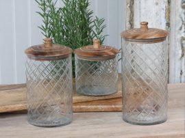 Vintage Üveg Tároló Mangó Fa Fedéllel - 22,5 cm.