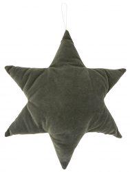 Vintage Sötétzöld Velúr Csillag - 40 cm.