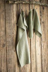 Vintage Olivazöld Konyhai Textil - 60*40 cm.
