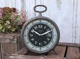 """Antik Fekete """"Loft"""" Asztali Óra - 29 cm."""