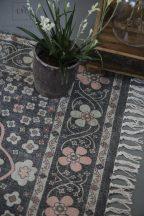 Vintage Kézzel Készített Fekete Szőnyeg Rózsa és Világoszöld Virágokkal - 180*120 cm.