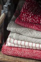 Vintage Natúr Konyharuha Vékony Piros Csíkkal