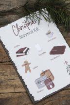 "Vintage ""Christmas Survival Kit"" Fém Tábla - 20 cm."