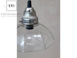 Vintage Vésett Üveg Burás Mennyezeti Lámpa - 17 cm.
