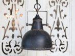 """Antik Fekete """"Ipari"""" Mennyezeti Lámpa - 24 cm."""