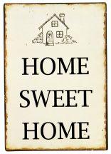 "Vintage Fém Tábla ""Home Sweet Home"" - 20 cm."