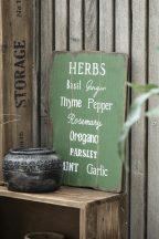 """Vintage Világos Zöld """"Herbs"""" Fa Tábla - 37 cm."""