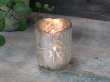 """Antik Ezüst Színű """"Csillaghullás"""" Mécsestartó - 9 cm."""