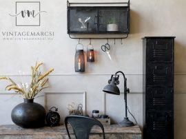 Antik Fekete Asztali Ipari Lámpa - 53 cm.