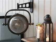 Antik Fekete Fali Ipari Lámpa