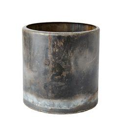 """Vintage Fekete Fém """"TREASURE"""" Kaspó - 18 cm."""