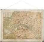 """Vintage """"Párizs Térkép"""" Fali Kép"""