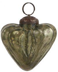 Vintage Olivazöld Akasztható Szív - 5 cm