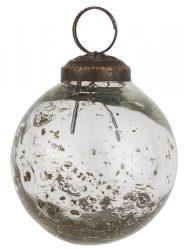 """Vintage Clear """"Kődarabos"""" Akasztható Gömb - 5,8 cm."""