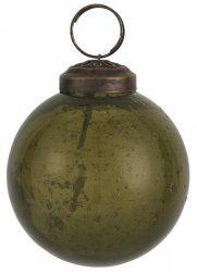 """Vintage Olívazöld """"Kődarabos"""" Akasztható Gömb - 5,8 cm."""