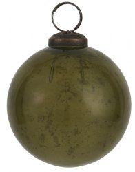 """Vintage Olívazöld """"Kődarabos"""" Akasztható Gömb - 8 cm."""