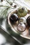 """Vintage Olívazöld """"Kődarabos"""" Akasztható Gömb - 9,5 cm."""