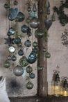 """Vintage Petrol """"Kődarabos"""" Akasztható Gömb - 9,5 cm."""